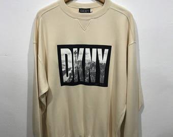 Vintage 90s DKNY Donna Karen New York Sweatshirt Saiz M Hip Hop Neon Multi Colour Spell Out Winter Ski Hiking Swag Jumper | Crewneck |