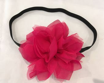 Elastic headband with flower for women or children age 10