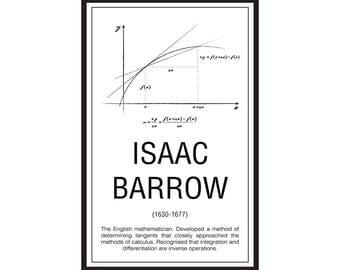 Math Poster,  Printable Poster, Maths, Education, Mathematicians, Isaac Barrow
