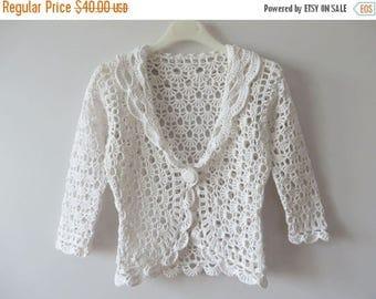 ON SALE White Crochet Bolero White Cotton Cardigan Women Summer Jacket Single Button Jacket White Knit Top White Lace Jacket Small Size Bole