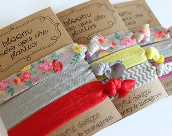Bloom Where You Are Planted Soft Hair Ties - Gray Floral - No Crease Hair Tie - Party Favors - Soft Hair Tie - Workout Accessory