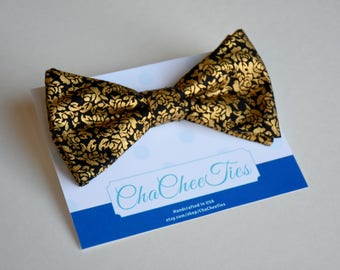 Black and Gold Bow Tie ~ Men's Bow Tie ~ Gold Flower Bow Tie ~ Self-tie or Pre-tied ~ Fancy Bow Tie ~ Prom Bow Tie ~ Wedding Bow Tie