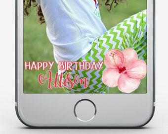 Custom Snapchat Filter, Aloha Birthday, Kid's Birthday, Tropical Birthday, Tween Birthday Party, Snapchat Geofilter, Hawaiian Luau Birthday