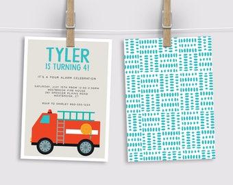 Fire Truck Birthday Invitation, Fireman Party Invitation, Fire Engine Party Invitation, Printed Invitation, Printable Invitation