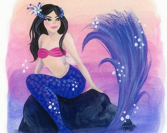 Purple and Pink Autumn Mermaid 5x5 Glicée Prints