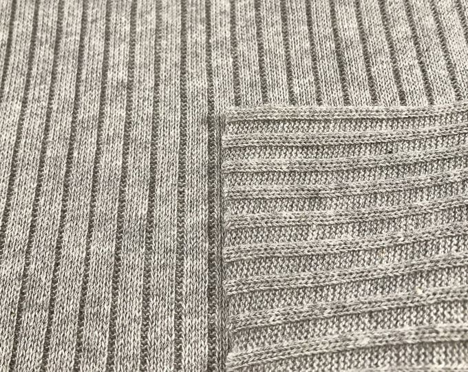 100% Cotton Sweater Rib Knit Fabric (Wholesale Price Available By the Bolt) - 5058CH10-Heather Grey - 1 Yard