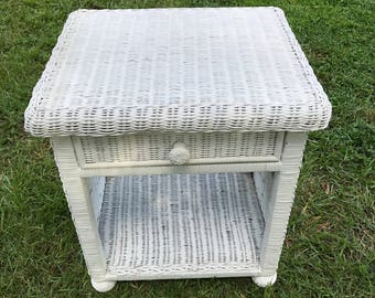 Vintage White Wicker Table, End Table, Stand, One Drawer Table, Wicker Night Stand, Real Wood Wicker, Rattan