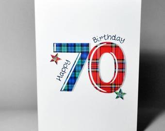 Tartan Number 70 Birthday Card WWTN70