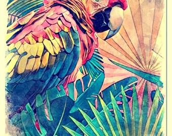 Tropicana watercolor painting art print