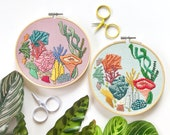 Coral Embroidery Pattern. Embroidery DIY Downloadable PDF. Ocean Art. Colorful Embroidery Design. Craft Lovers Gift.