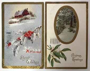 Antique Christmas Postcards - Xmas Best Wishes & Christmas Greetings - Holiday Ephemera - Embossed Holly and Mistletoe