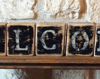 WELCOME Rustic Wood Blocks Home Decor-Rustic Home Decor-House Warming Gift