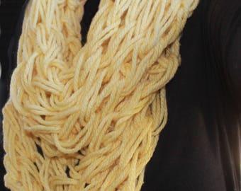 Stunning yellow single infinty scarf, cowl snood
