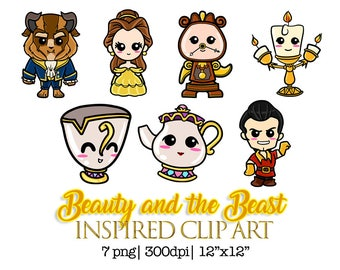Beauty and the Beast Inspired Clipart, Instant Download, PNG Files, Beauty Beast art, Beauty Beast Chibi, Beauty and the Beast clipart,