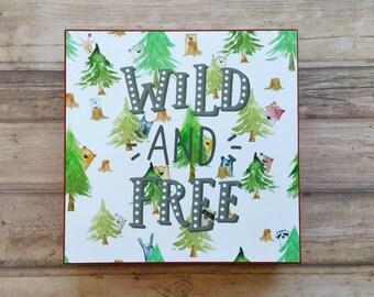 Forest animals typography poster, wild and free, photo cube, nursery decor, bookshelf decor, watercolor illustration, kidsroom decor