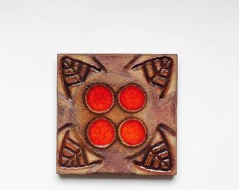NOOMI BACKHAUSEN TILE Soholm Stentoj Denmark vintage mid century modern pottery Scandinavian ceramic Ceramic wall art