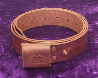 Handmande Leather Belt - Antique Walnut