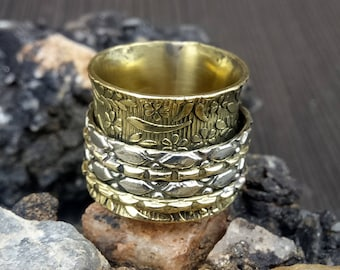 Brass spinner rings | Meditations jewelry rings | Spinning rings band | New Year gift jewelry rings | Statement ring | Handcrafted ring |R87
