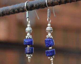 Lapis dangle earring | tribal fusion earring | Valentines day gift earring - Indian gift banjara earring | Drop blue gemstone earring | E104