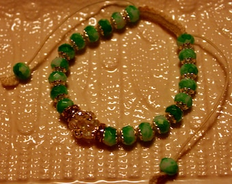 Beautiful Exquisite crystal-beaded bracelet in light & dark green; handmade, shamballa, beadweaving, cute, casual-wear, party-wear