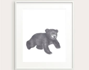 Baby Bear. Nursery Art Print. Baby's Room Decor. Kids Wall decor. Kids Room Print. Baby Animal Print. Nursery Decor. Baby Wall Art