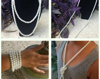 Extra long versatile white PEARL strands