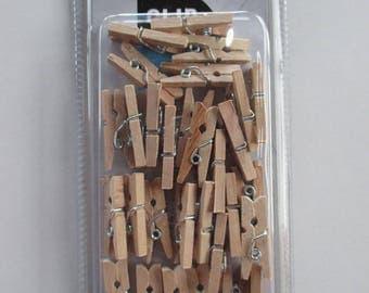 set of 30 mini wooden clothespins natural 25mm x 7mm