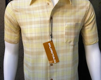 70s Puritan Mens Vintage Knit Shirt Disco Mod Textured Polyester Yellow NOS/ Puritan Semi-Sheer Knit Shirt Size M/ Made in the USA