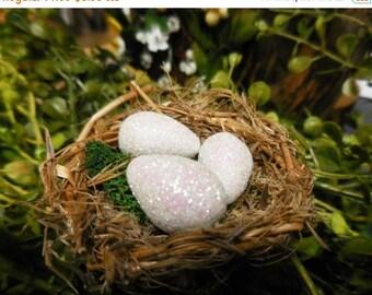 20% OFF STOREWIDE Fairy Garden Miniature Unicorn Eggs, Shimmering Rainbow Eggs w Nest of Twigs Moss, Fairy Garden Accessory for Terrariums a