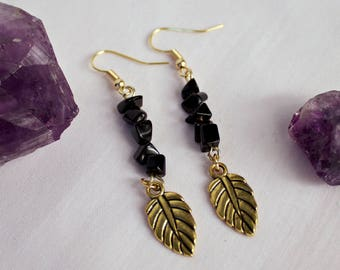 Gold Earrings with Onyx and Leaf Charm