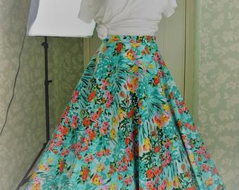 Green floral long circle skirt