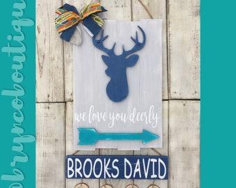 Deer / Hospital Door Hanger / Welcome Baby / Baby Boy / Birth Announcement / Hospital Wreath / Wood Sign