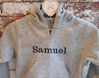 Personalised hoody, boys hoody, baby hoody, grey hoody, toddler hoody, personalised baby gift, personalized gift, hooded sweatshirt