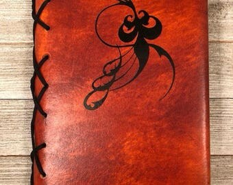 Refillable Copper Leather Journal with Black Vinyl Design - Ready to Ship! Makes a Great Journal Gift!
