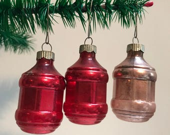 Set Of 3 Vintage Shiny Brite Barrell Ornaments
