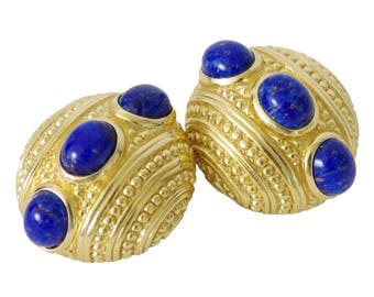 Christian Dior 1980's Faux Lapis Gold Tone Clip On Signed Earrings