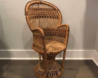 Childrens Size Peacock Chair, Bohemian Chair, Boho Furniture, Wicker Rattan  Chair, Accent