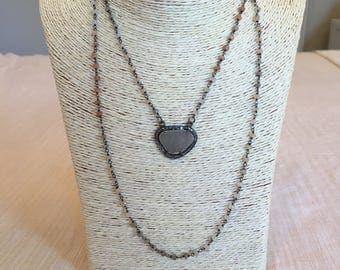 rosary chain necklace w/ pave druzy
