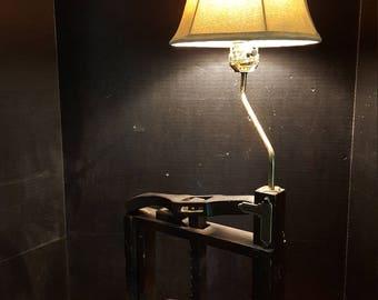 Antique Vintage Book Press Table Lamp w/Suede Biege Shade, Steampunk Decor!