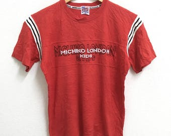 RARE!!! Michiko London Kids Big Logo Embroidery Crew Neck Red Colour T-Shirts 160 (Kids) Size