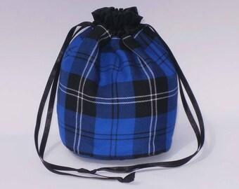 Royal Blue Tartan Dolly Bag Purse Evening Handbag With Black Satin Ribbon