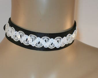 Black Satin with White Sequin Braid with Satin Ribbon Ties Choker Bride