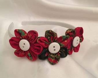 Green/ red chistmas hair band, hair bow, stocking filler, alice band,