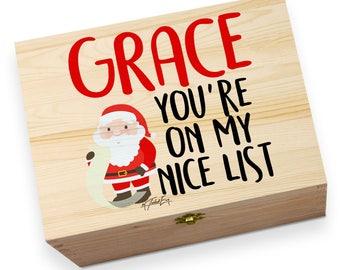 Personalised on Santa's Nice List Wooden Printed Christmas Eve Box