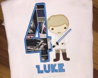 Luke Skywalker Star Wars Birthday Shirt  Embroidery and Applique