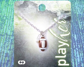 Customizable! Football Enamel Necklace with Pearl - Personalize with Jersey Number, Heart Charm, or Letter Charm! Great Football Mom Gift!