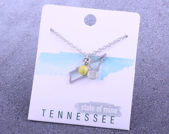 Customizable! State of Mine: Tennessee Tennis Racket Necklace - Great Tennis Gift!