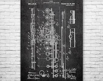 Flute Poster Patent Print Gift FREE SHIPPING, Flute Patent, Flute Wall Art, Flute Player Gift, Flutist, Musician Gift, Music Teacher Gift