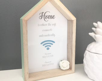 Wifi sign, wifi frame, home is where wifi is, wifi house frame, home decor, home accessories, welcome sign, welcome to our home, home