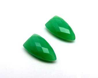 17Cts 20X11X6mm Natural Chrysoprase Loose Gemstone Faceted Shield Shape Checkerboard Briolite Cut - Top Quality Jewellery Gems Pair RG-027